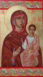 """""""Св. Богородица с Младенеца"""" - с възрожденски флорален орнамент"""